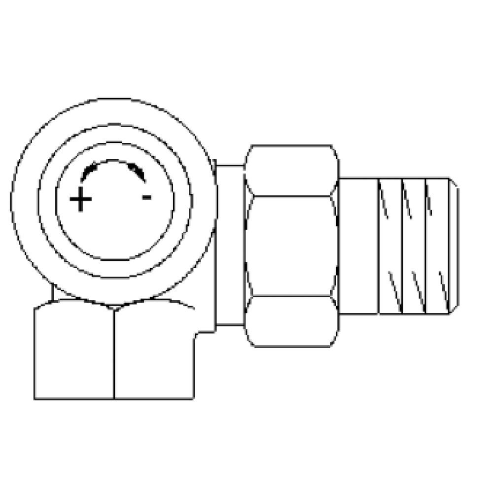 """Серия """"AV 6"""" термостат. вентиль, угловой трехос., левое присоед."""